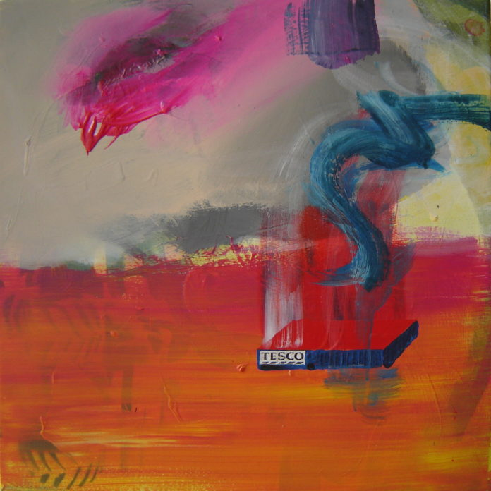 2008, acrylic,, paper on canvas, 55x55